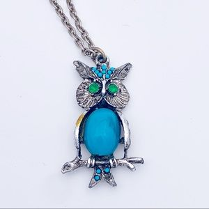 Vintage Owl Necklace Silver Turquoise Green Retro